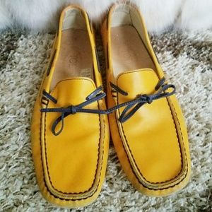 Tod's Yellow & Blue Leather Moccasins Flats Size 8